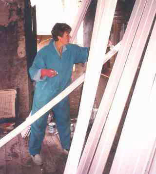 Bep schildert plafondhout