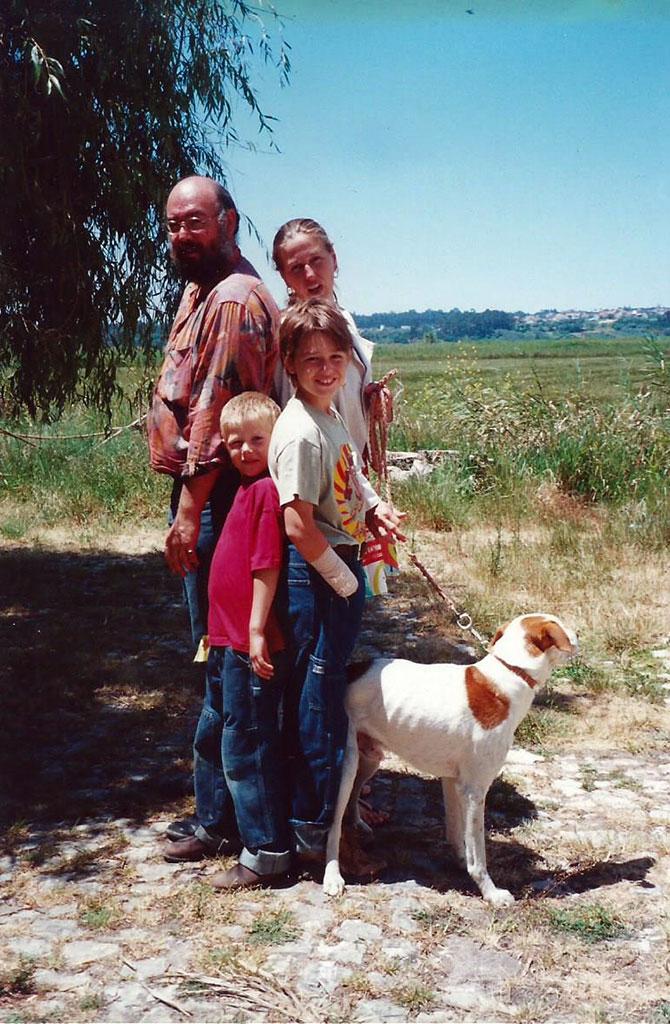 familieportret met onze hond Stef