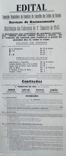 Uitleg voor de distributie van rijst, suiker, pasta en zeep in het 1e semester van 1945