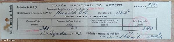 Olijvenoogst 1943: toestemming voor 320 liter voor eigen gebruik