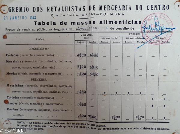 prijslijst pasta 21 januari 1943