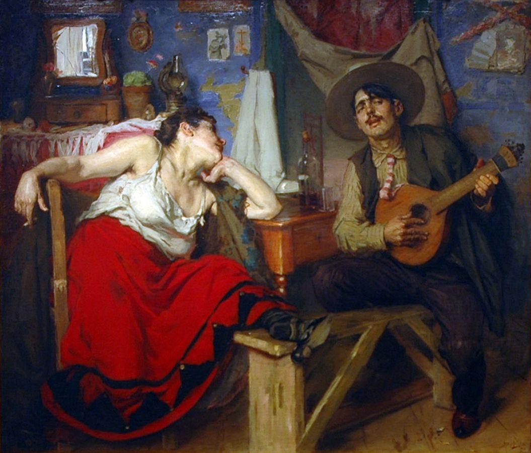 Schilderij van een man  op een bankje die op een fadogitaar speelt en een vrouw in een stoel naast hem die luistert, een fles drank tussen hen in.