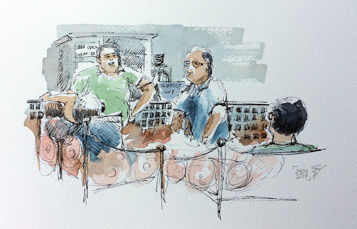 Mikki's Place, praatje in de bar, illustratie Rienk Vlieger