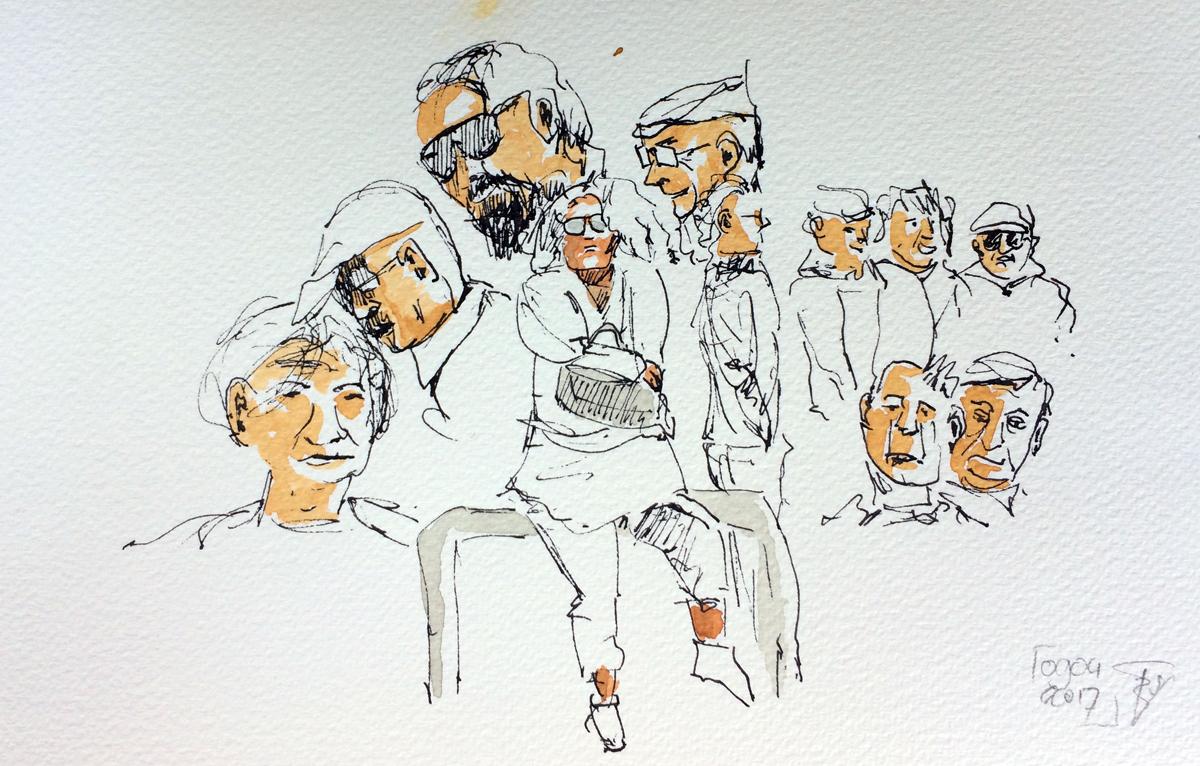 'Koppen' op de markt van Ferragudo, illustratie Rienk Vlieger