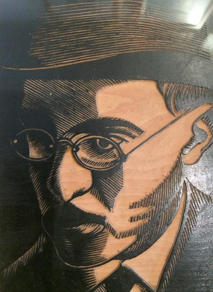 Portret van Fernando Pessoa, houtgravure door Mestre Manuel Cabanas (1902 - 1995)
