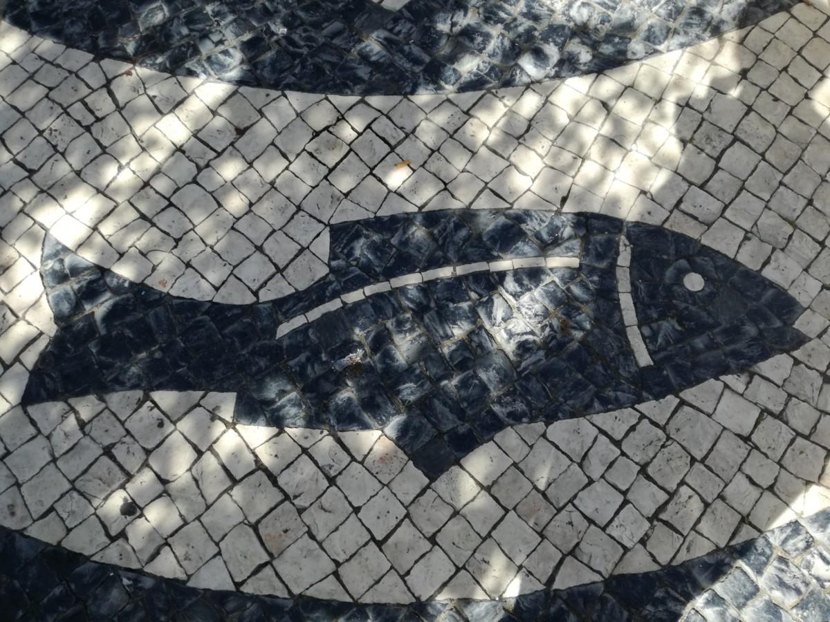 Mozaïek van een zwarte vis op een witte ondergrond in Faro.