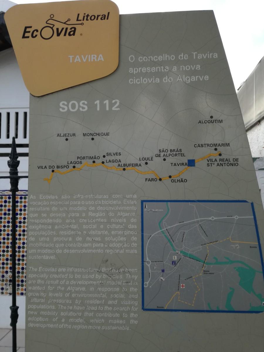 Informatiebord van de Ecovia do Algarve of Ecovia litoral. Het laat een plattegrond van Tavira zien en de route van de gehele Ecovia.