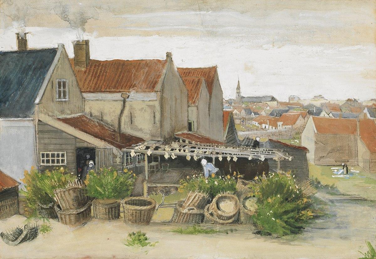 Een aquarel van Van Gogh toont de achterkant van huizen in Scheveningen. Aan een schuurtje hangt vis (schar) te drogen en er staan manden opgestapeld.