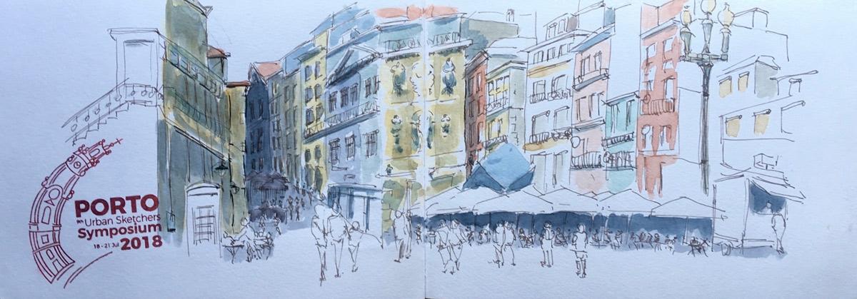 Porto, Praça de Ribeira, urban sketch