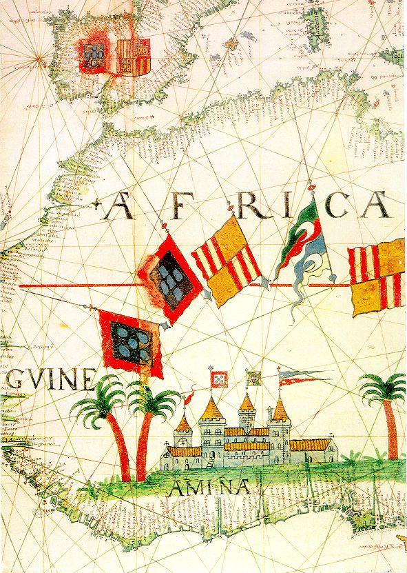 Kaart van de westkust van Afrika uit de 16e eeuw.