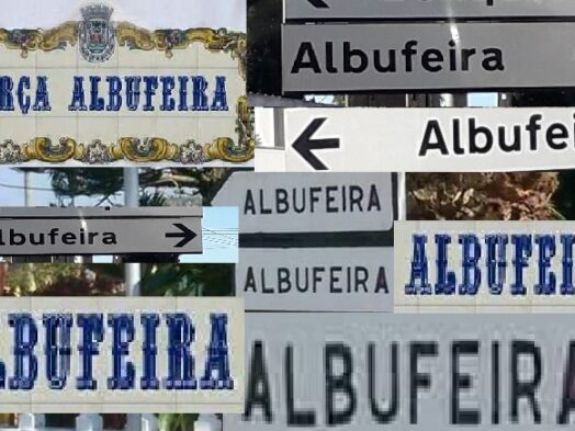Verzameling van richtingborden met de goede spelling van Albufeira erop