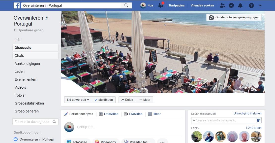 """Schermadruk van de facebook groep """"overwinteren in Portugal""""."""