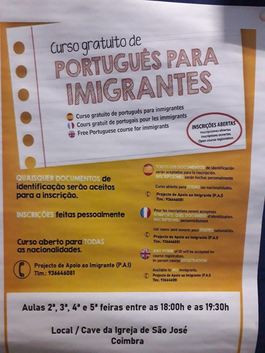 Aankondiging gratis cursus Portugees voor Immigranten in Coimbra.