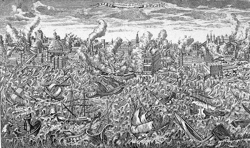 Kopergravure uit 1755 toont de ruïnes van Lissabon in vlammen en een tsunami die de schepen in de haven overweldigt.