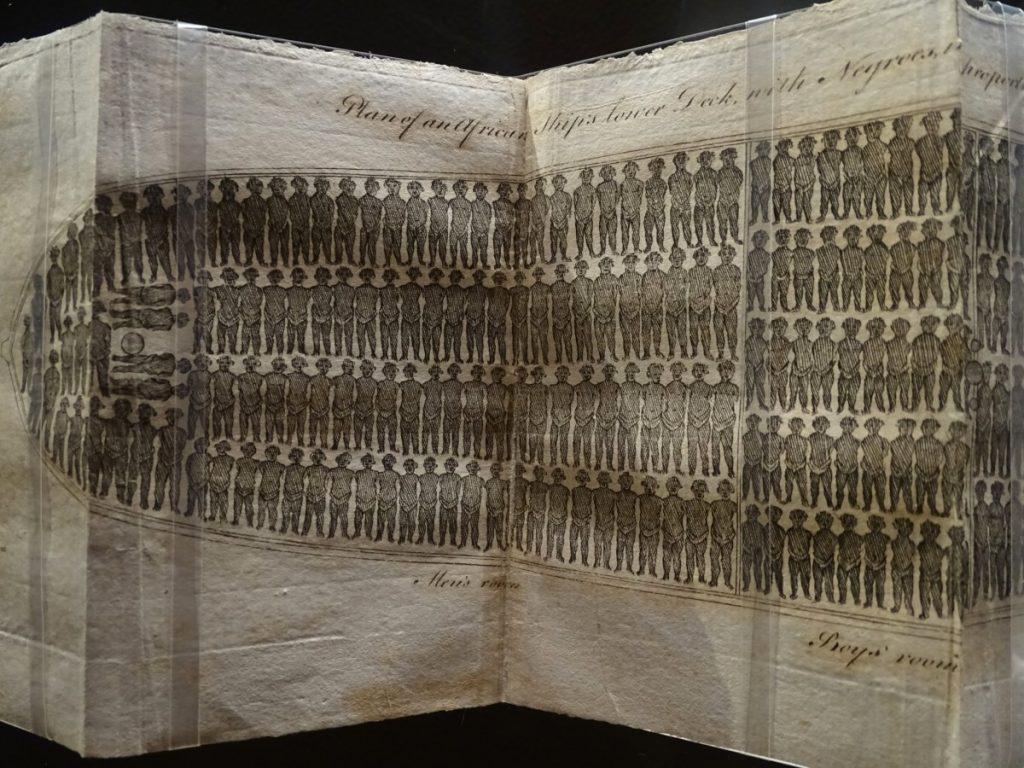 Tekening van een scheepsuim vol met slaven hutje mutje naast elkaar