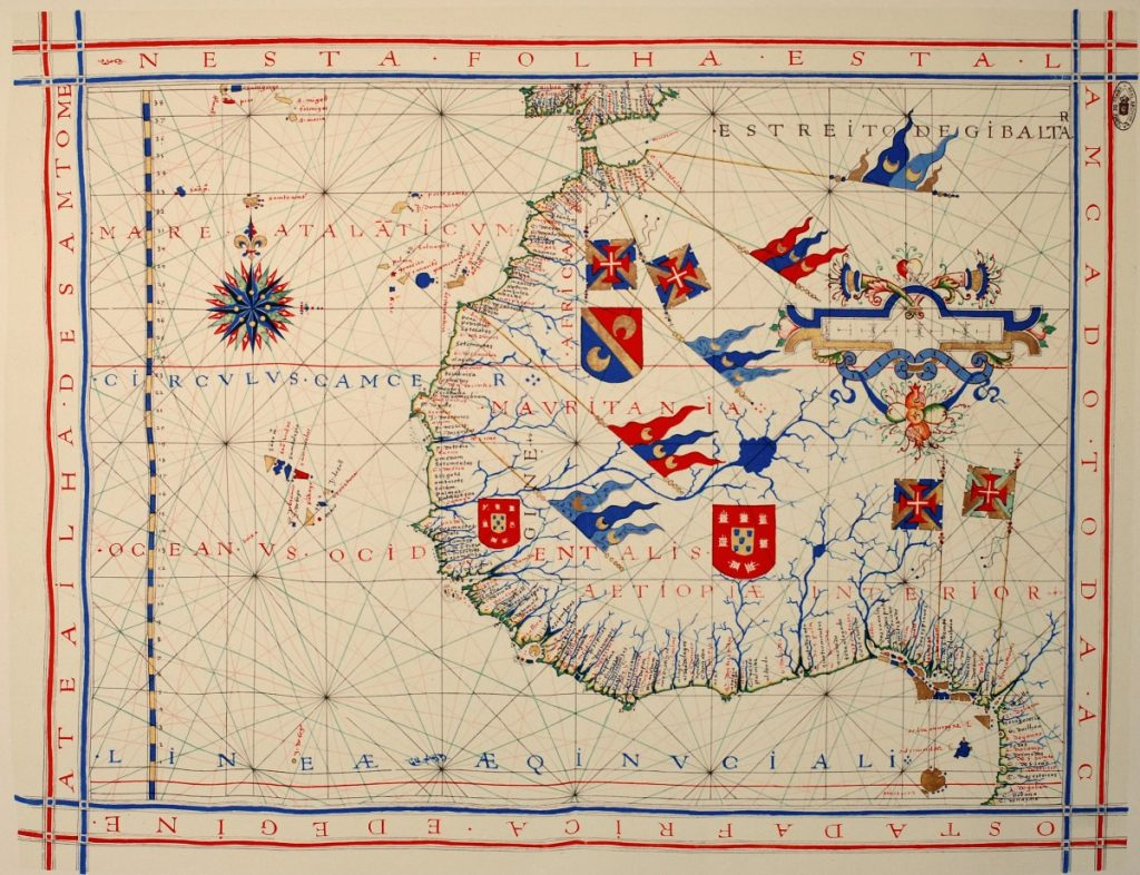 Nautische kaart van de Portugese cartograaf Fernão Vaz Dourado