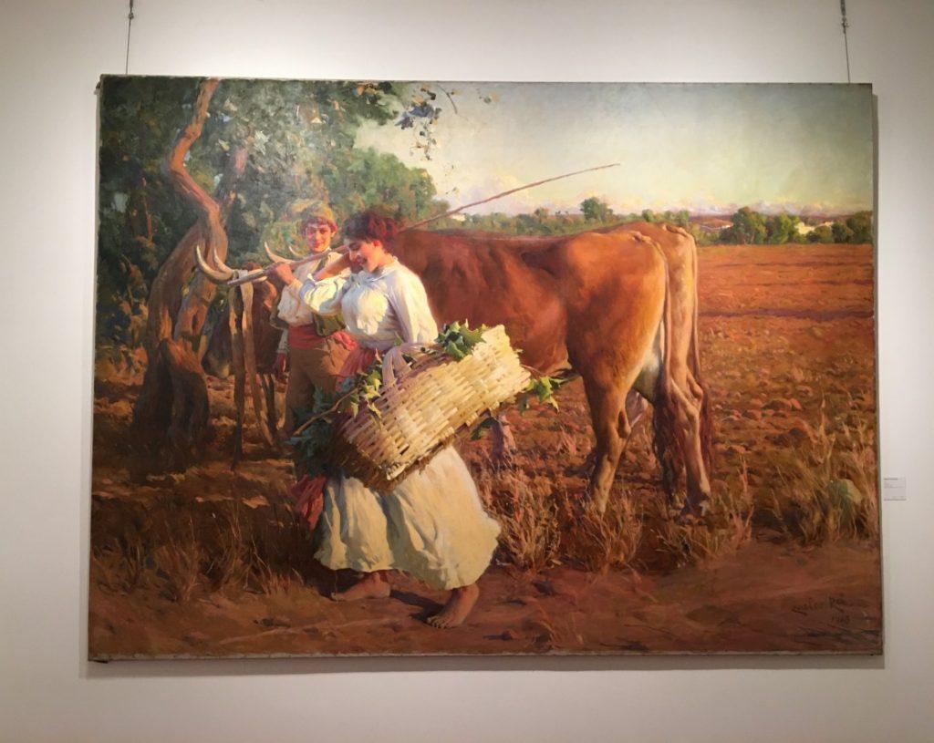Schilderij van Carlos Reis van een landschap met boeren.