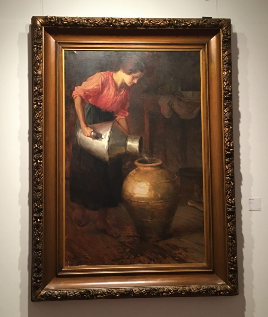 Schilderij van Carlos Reis van een meisje met kruiken