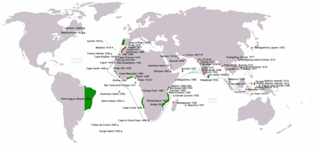 Kaart van Portugese ontdekkingen