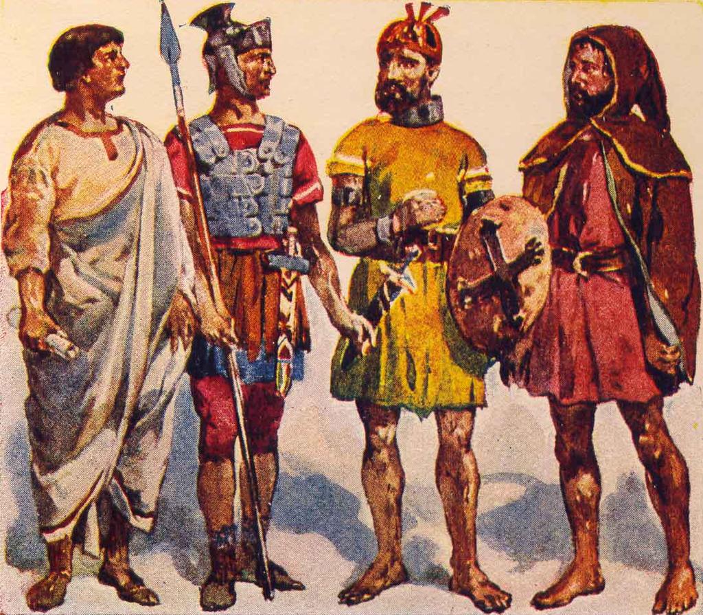 Romeinen en Lusitaniërs. Roque Gameira maakte begin 20e eeuw illustraties bij de geschiedenis van Portugal. We zien 2 Romeinen, een krijger en in een toga en 2 autochtone inwoners.