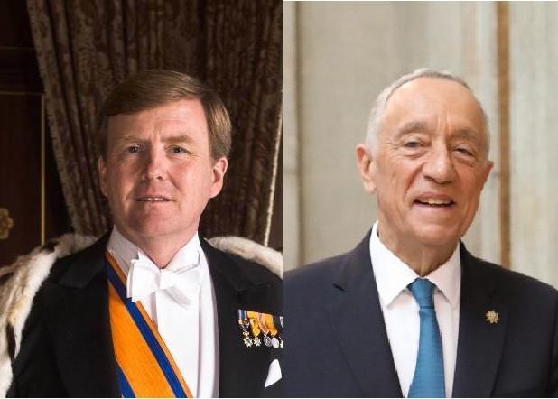 Collage van fotos van koning Willem-Alexander en president Marcelo Rebelo de Sousa