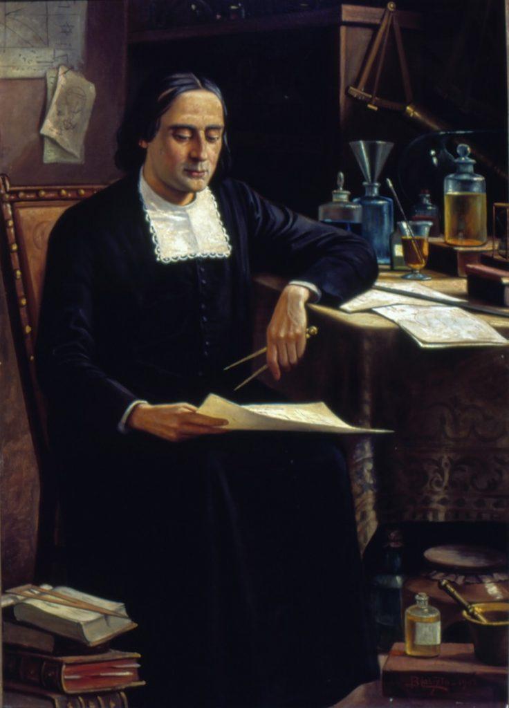 Schilderij van Gusmão zittend aan zijn werktafel.
