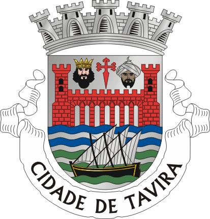 Het wapen van de stad Tavira toont een brug met 7 bogen, een driemaster ervoor, een kasteel erachter en de gezichten van een christelijke en een Moorse heerser.