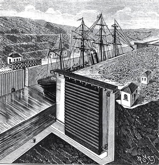Ontwerp door Eiffel van de sluizen in het Panamakanaal