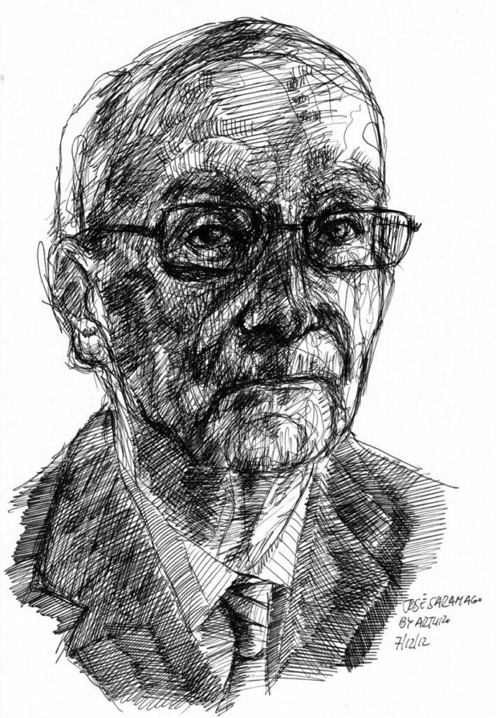 Tekening van de kop van José Saramago door Arturo Espinosa.