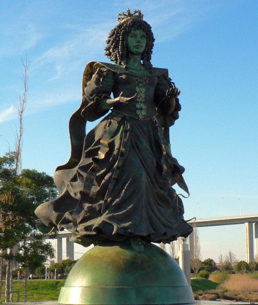 Standbeeld van Catarina de Bragançca in Lissabon.