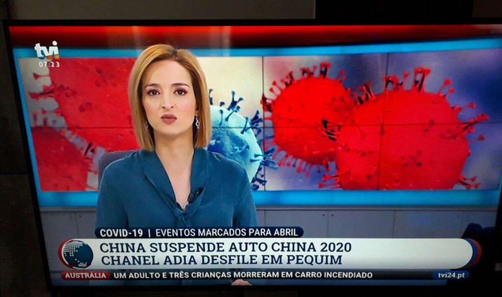 Foto van het ochtendhjournaal van TVI, één van de vrij te ontvangen zenders in Portugal.