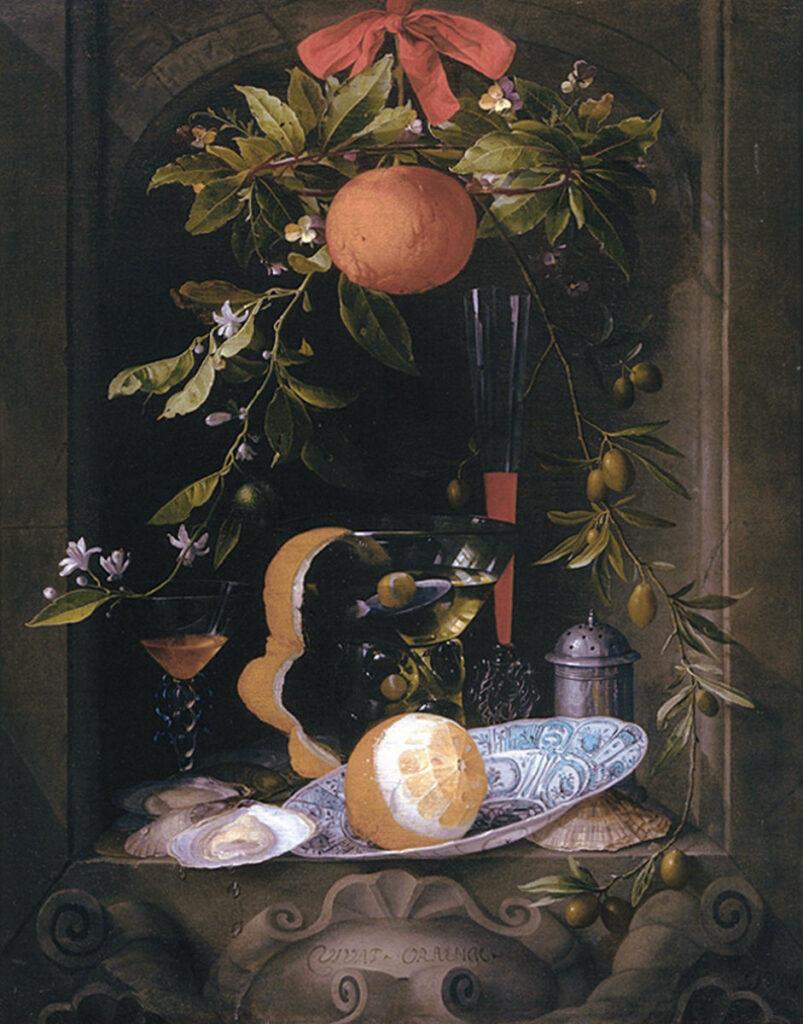 Stilleven uit de 17e eeuw met sinaasappel, sinaasappelbloemen en ander exotisch voedsel als olijven en  oesters