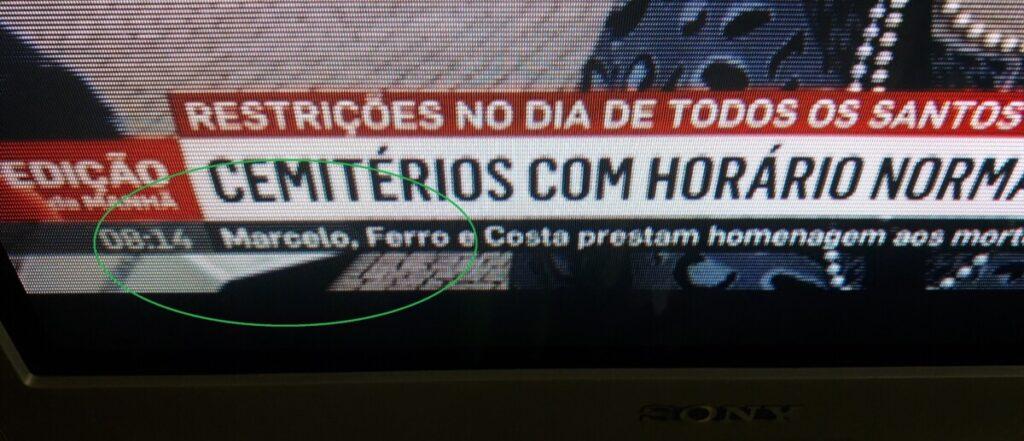 """Foto van een TV waaroo het ochtendjournaal in de tekstbalk spreekt over """"Marcelo""""."""