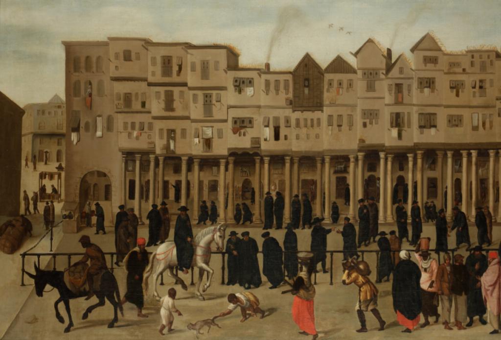 Schilderij van de Rua Nova dos Mercadores waar veel handelaren bijeen kwamen.