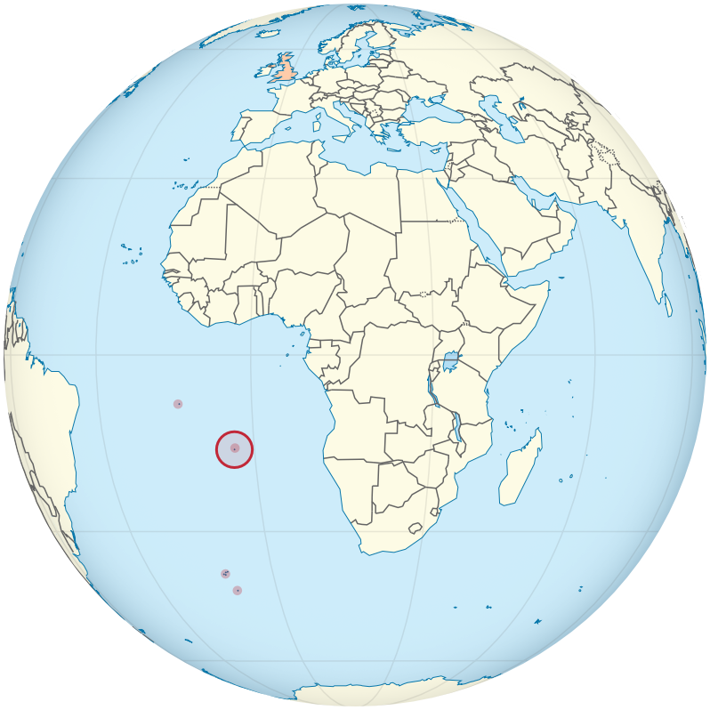 Sint-Helena op de wereldbol