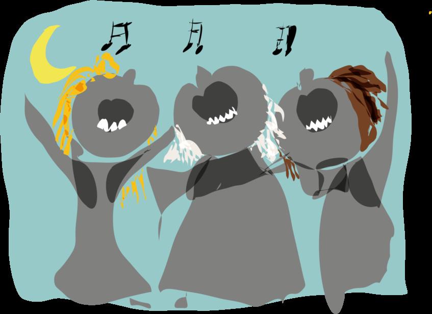 Tekening van drie zingende vrouwen.