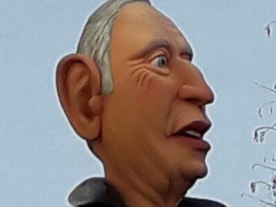 Karikatuur-buste van Portugese president Marcelo Rebelo de Sousa