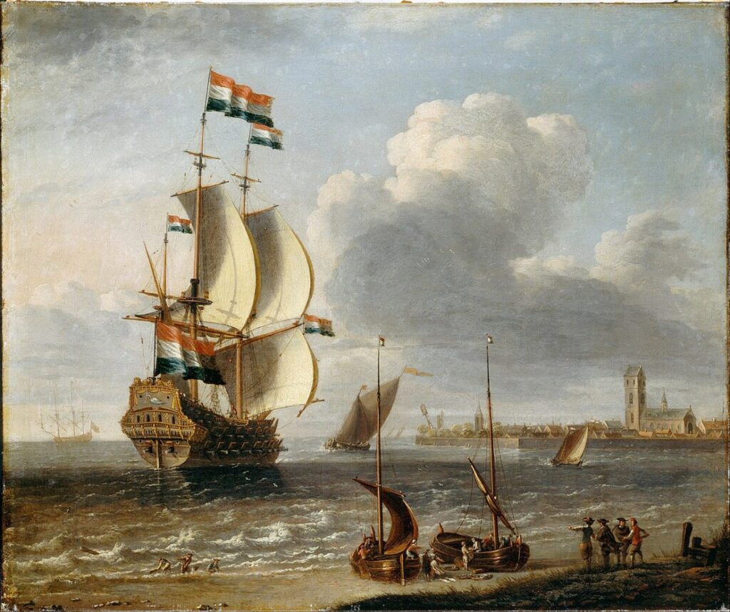 Een VOC-schip voor de haven van Hoorn