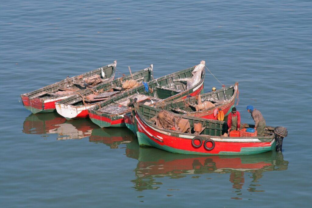 Gammele bootjes in El Jadida